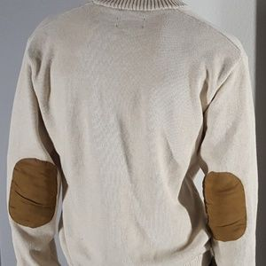 Chaps Ralph Lauren Tan Sweater w Elbow Patch XL